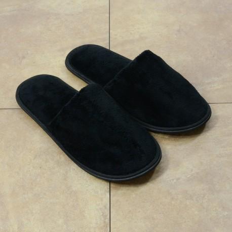 Black velour slipper closed toe