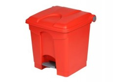Plastic bin with pedal 30L, red