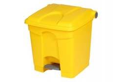 Plastic bin with pedal 30L, yellow