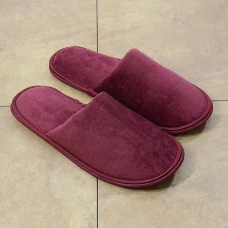 Red terry slipper closed toe