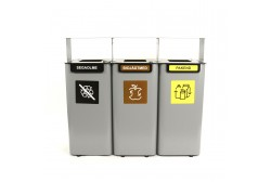 Outdoor waste bin 3*70 L + ash tray