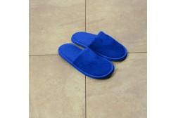 Blue children velour slipper closed toe