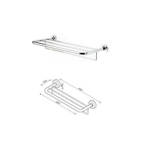 Bath towel shelf with towel rail, 20 mm tube Geesa