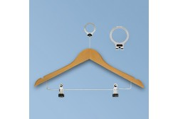 Anti-theft hanger with clips natural wood
