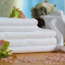 Белые вафельный полотенца, все размеры