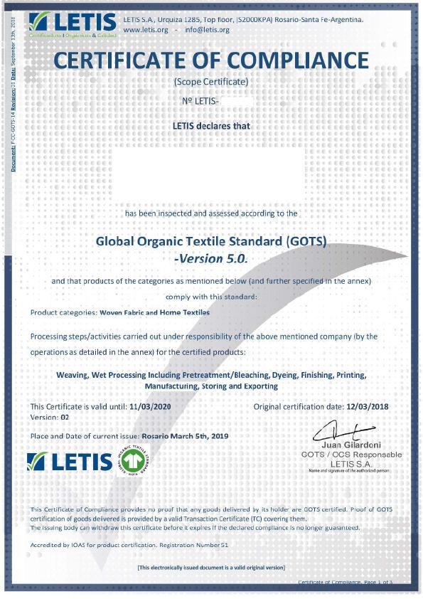 GOTS sertifikaat